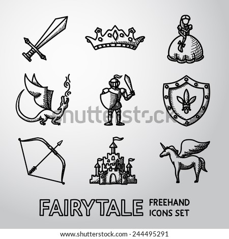 Set of hand drawn fairytale (game) icons with - sword, bow, shield, knight, dragon, princess, crown, unicorn, castle. Vector - stock vector