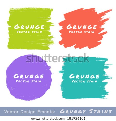 Set of Hand Drawn Flat Grunge Stains on White Background. Vector Illustration  - stock vector