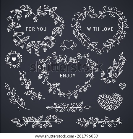 Set of hand drawn floral hearts, borders and branches on blackboard background. Perfect for wedding invitations, holiday greetings, birthday, Valentines Day greeting cards. Vector illustration - stock vector