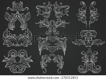 Set of hand drawn floral ornament decorations - stock vector