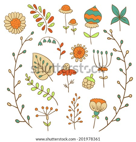 Set of hand drawn flowers in retro style. ( vector)