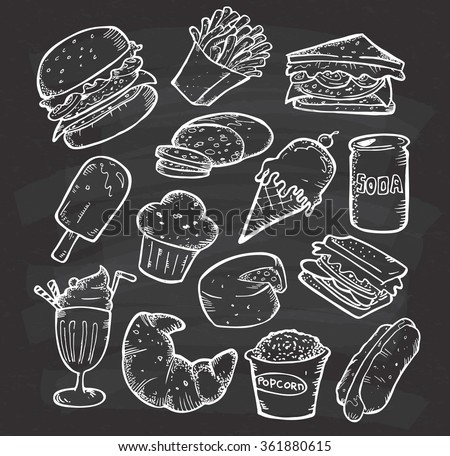 Set of hand drawn food and snack on chalkboard background - stock vector