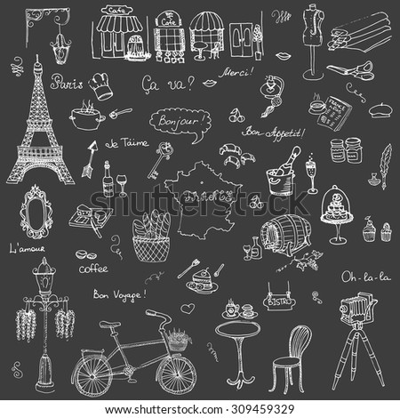 Set of hand drawn French icons, Paris sketch illustration, doodle elements, Isolated national elements made in vector. Travel to France icons for cards and web pages, Paris symbols collection - stock vector