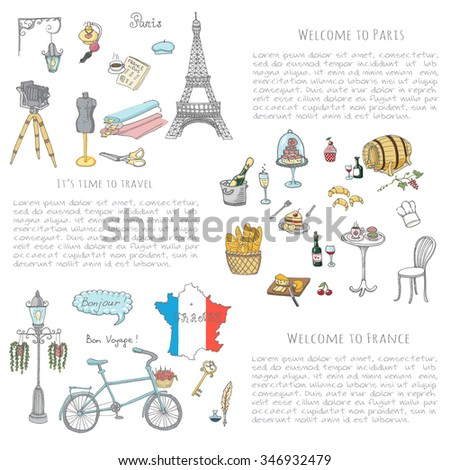 Set of hand drawn French icons, Paris sketch illustration, doodle elements, Isolated national vector elements Travel to France icons for cards, web pages, travel articles Paris symbols collection - stock vector