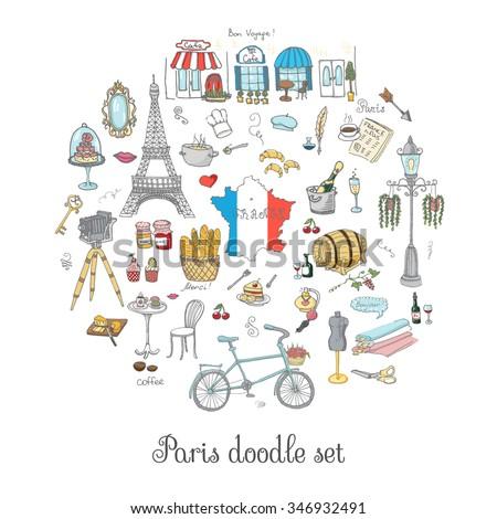 set hand drawn french icons paris stock vector 346932491 shutterstock rh shutterstock com Paris Passport Stamp Clip Art French Poodle Clip Art