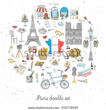 Set of hand drawn French icons, Paris sketch vector illustration, doodle elements, Isolated France national elements, Travel to France icons for cards and web pages, Paris symbols collection - stock vector