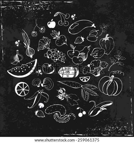 set of hand drawn fruit and vegetables in the grunge style on a black background - stock vector