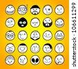 Set of hand-drawn funny cartoon faces. - stock vector