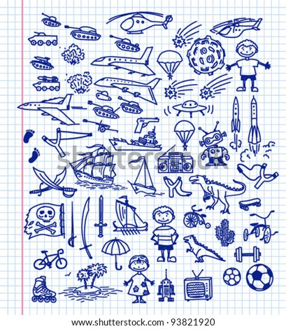 Set of hand-drawn funny doodles - stock vector