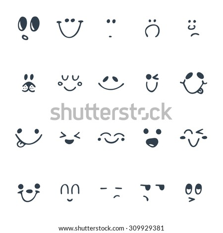Set of hand drawn funny faces. Happy faces. Vector illustration - stock vector