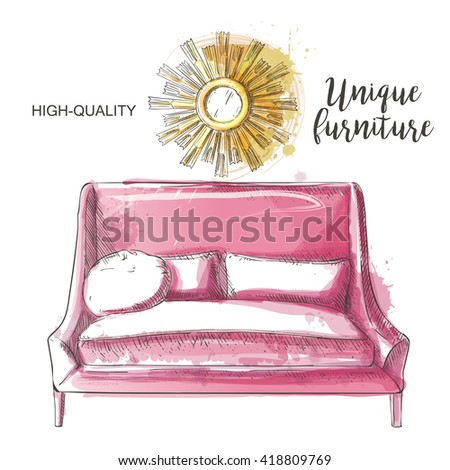 Set of hand drawn furniture and interior detail. Vector illustration in vintage style. - stock vector