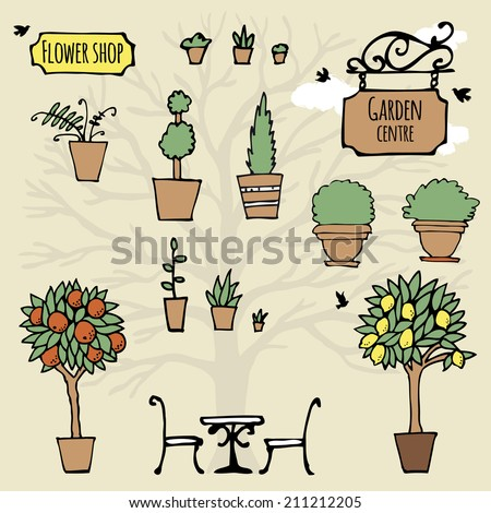 Set of hand drawn garden stuff (plants, plant pots). Logos of flower shop and garden centre. Vector illustration in doodle style. - stock vector