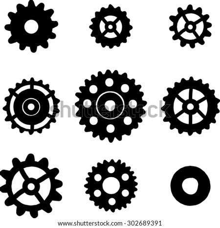 Set of 9 hand drawn gears, steampunk pattern - stock vector