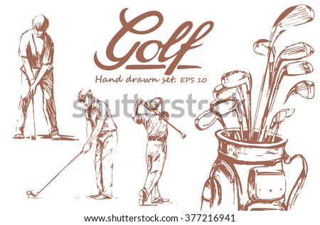 Set of hand-drawn Golf. Vector illustration. isolate - stock vector