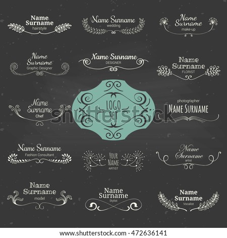 Set Of Hand Drawn Graphic Personal Logos For The Creative Team Vector Collection