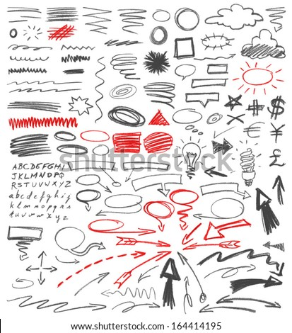 Set of hand drawn graphic signs. Pencil technique. Arrows, correction lines, underlines, circles, scribble, various elements doodle. Vector illustration. - stock vector