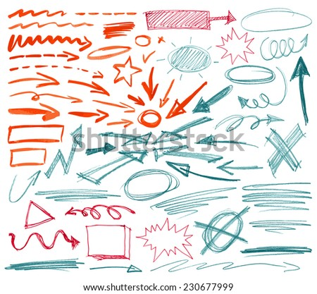 Set of hand drawn graphic signs. Vector illustration. - stock vector