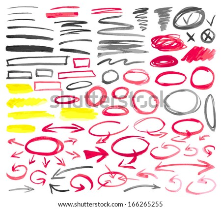 Set of hand drawn graphic signs. Watercolor painting technique. Curved arrows, correction lines, underlines, circles, scribble, highlights. Vector illustration. - stock vector