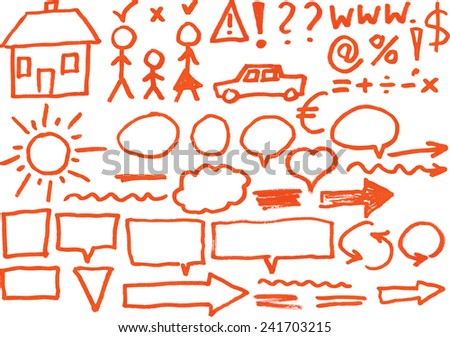 set of hand drawn graphic symbols - design elements - stock vector