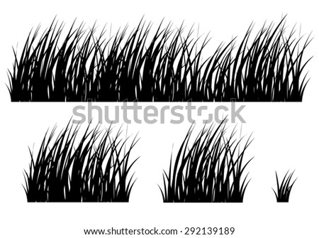 Set of hand drawn grass. Vector. Silhouette