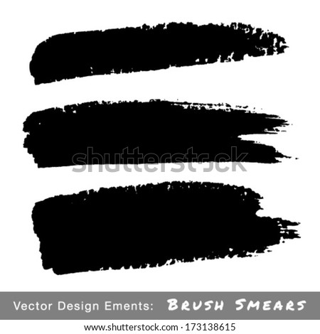 Set of Hand Drawn Grunge Brush Smears, vector illustration
