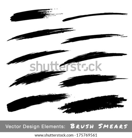 Set of Hand Drawn Grunge Brush Smears, vector illustration  - stock vector
