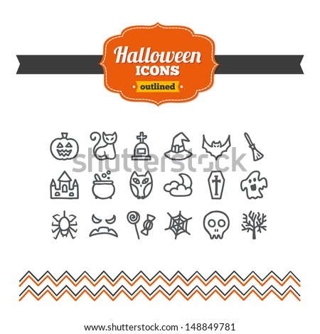 Set of hand drawn Halloween icons - stock vector