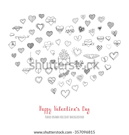 Set of hand drawn Happy Valentine's Day symbols and icons Sketchy Hearts envelopes with hearts Love sign Doodle elements collection Valentine vector illustration Stylized cartoon heart different style