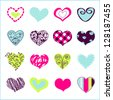 Set of hand drawn hearts for You - stock vector
