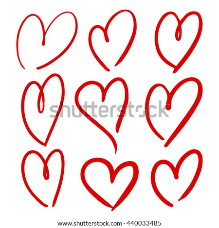 Set of hand drawn hearts. Vector grunge style icons collection. Image for wrapping paper, wallpaper, greeting card, design, web site, invitation, fabric, textile, fashion, magazines, decoration.  - stock vector