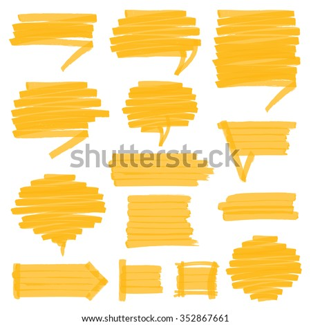 Set of hand drawn highlighter speech bubbles, marks and pointers. Can be used for text highlighting, marking or coloring in your designs. Optimized for one click color changes. - stock vector