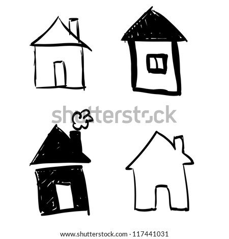 Set of hand-drawn houses - stock vector