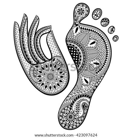 Set Hand Drawn Human Footprint Yoga Stock Vector 423097624