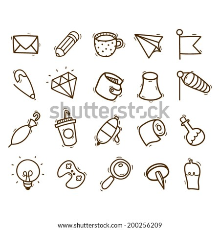 Set of 20 hand drawn icon in different themes - stock vector