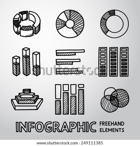 Set of hand drawn infographic elements - pie charts, graphics, rates, diagrams etc. Vector - stock vector