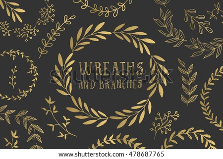 Set of Hand drawn ink painted gold floral wreaths. Vintage golden laurel for wedding, holiday and greeting cards. Vector illustration.
