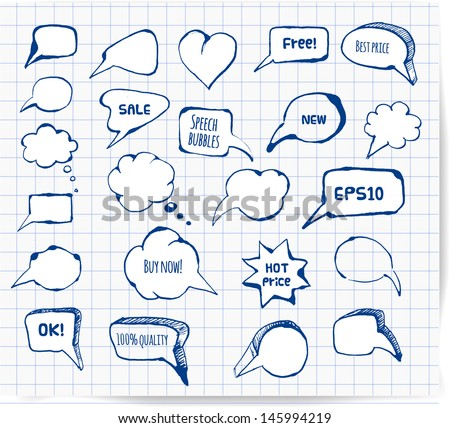 Set of hand-drawn ink speech and thought bubbles for your design. Pen sketch. Doodle vector illustration.  - stock vector