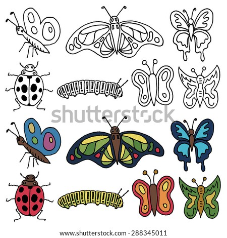 set of hand drawn insects in black outline and color versions - stock vector