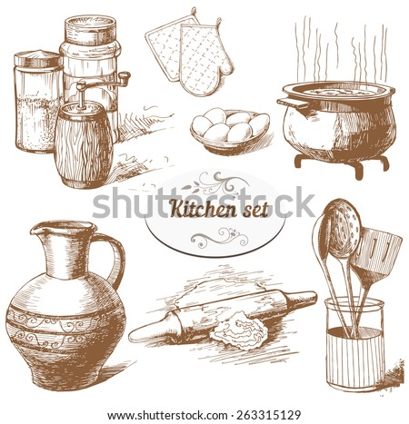 Set of hand drawn kitchen objects - stock vector