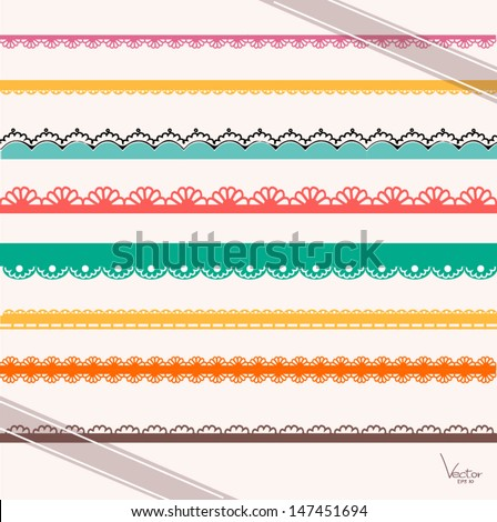Set handdrawn lace paper punch borders stock vector royalty free set of hand drawn lace paper punch borders and ribbon thecheapjerseys Images