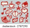 set of hand-drawn life icons - stock vector
