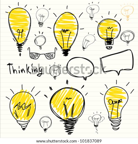 Set of Hand-drawn light bulbs, symbol of ideas - stock vector