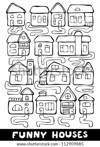 Set of hand drawn living houses with paths in black and white, vector - stock vector