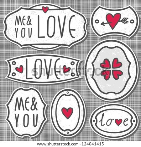 set of 7 hand drawn love sign labels with hearts text and grunge effect on light patterned gray background - stock vector