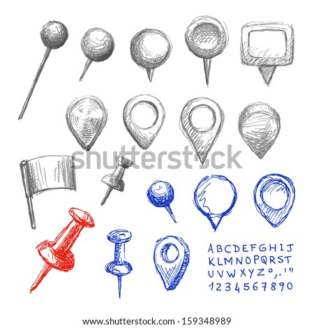 Set of hand drawn map pointers.  - stock vector