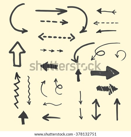 Set of hand drawn marker arrows. Vector element for your design.  - stock vector