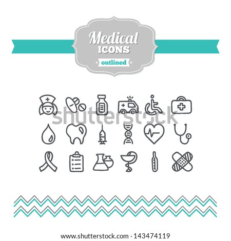 Set of hand drawn medical icons - stock vector
