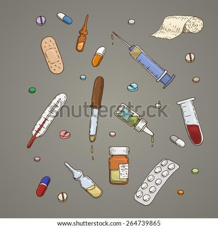 Set of hand-drawn medical supplies - stock vector