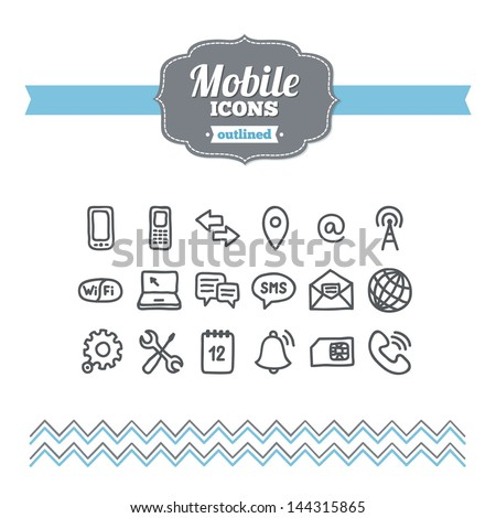 Set of hand drawn mobile icons - stock vector