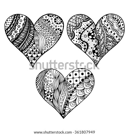 Set of hand drawn monochrome hearts in zentangle style. Pattern for coloring book. Coloring page for adult anti stress. Made by trace from sketch. Valentine's day background. - stock vector